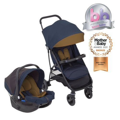 Graco Breaze Lite Travel System including Graco SnugEssentials i-Size infant car seat front facing and Breaze Lite stroller with Bizziebaby & Mother & Baby award logo.