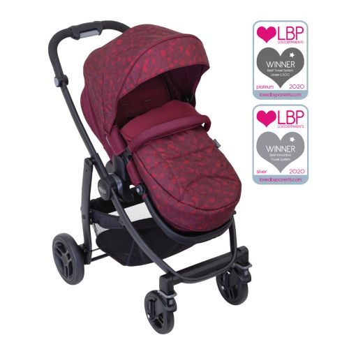 Graco Evo Pushchair front facing angle with footmuff and basket with Loved By Parents award Logos.