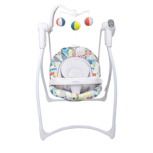 Graco Lovin' hug baby swing front view with toy bar and tray