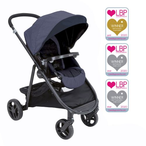 Graco Time2Grow pushchair with Loved by Parent award logos.